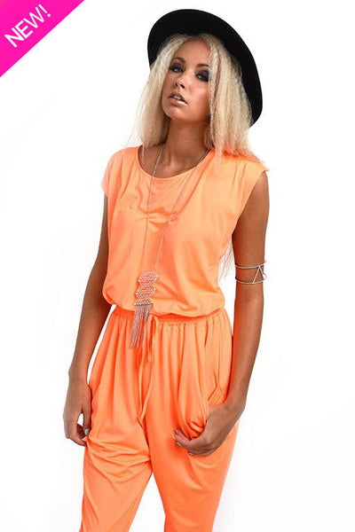 Orange silky jumpsuit
