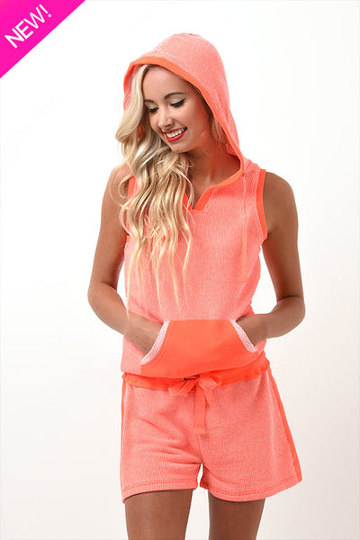 Orange dreamsicle sleeveless hoodie
