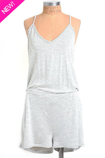 Ivory and gray striped romper