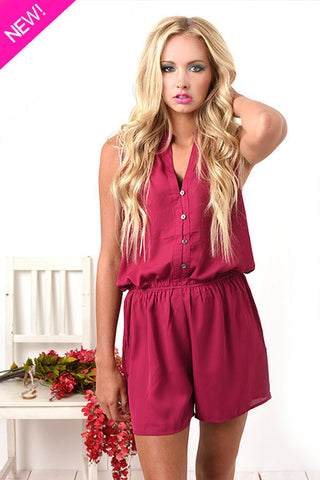 Fuchsia silky romper with lace detail