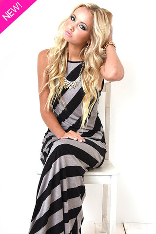 Striped angle maxi dress