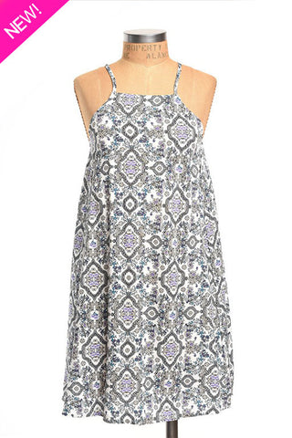 Boho printed spaghetti strap sheath dress