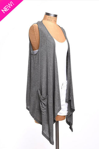 A-line gray striped lightweight vest
