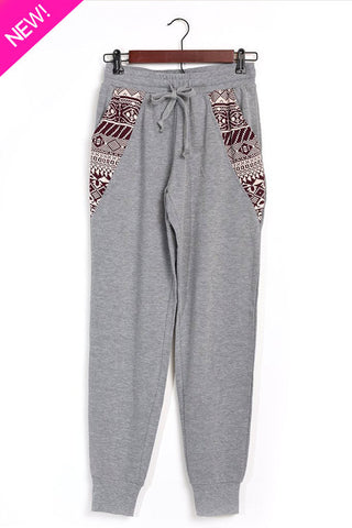 Aztec printed joggers gray