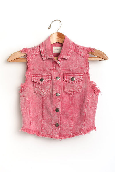 Pink distressed denim vest