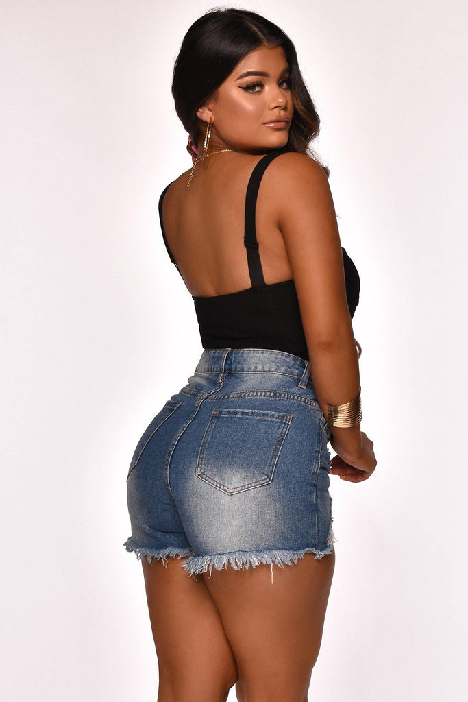 ALLI DISTRESSED DENIM SHORT