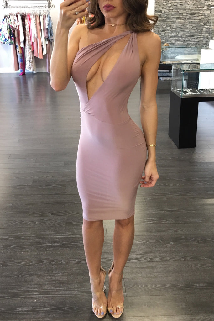 SLASH MIDI DRESS