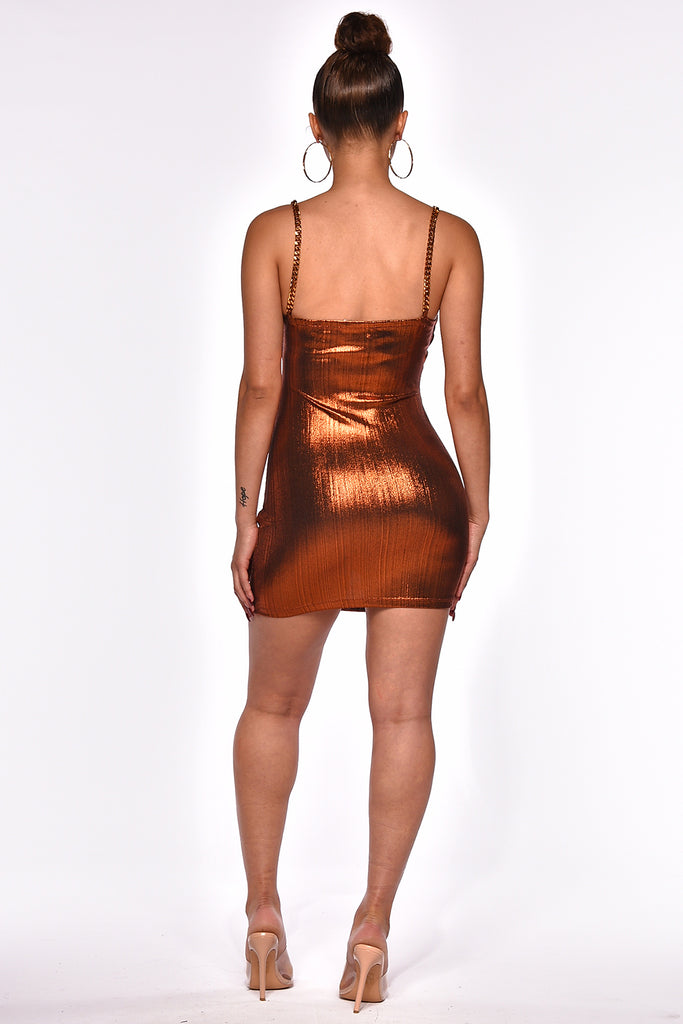 EPIC CHAIN & METALLIC MINI DRESS
