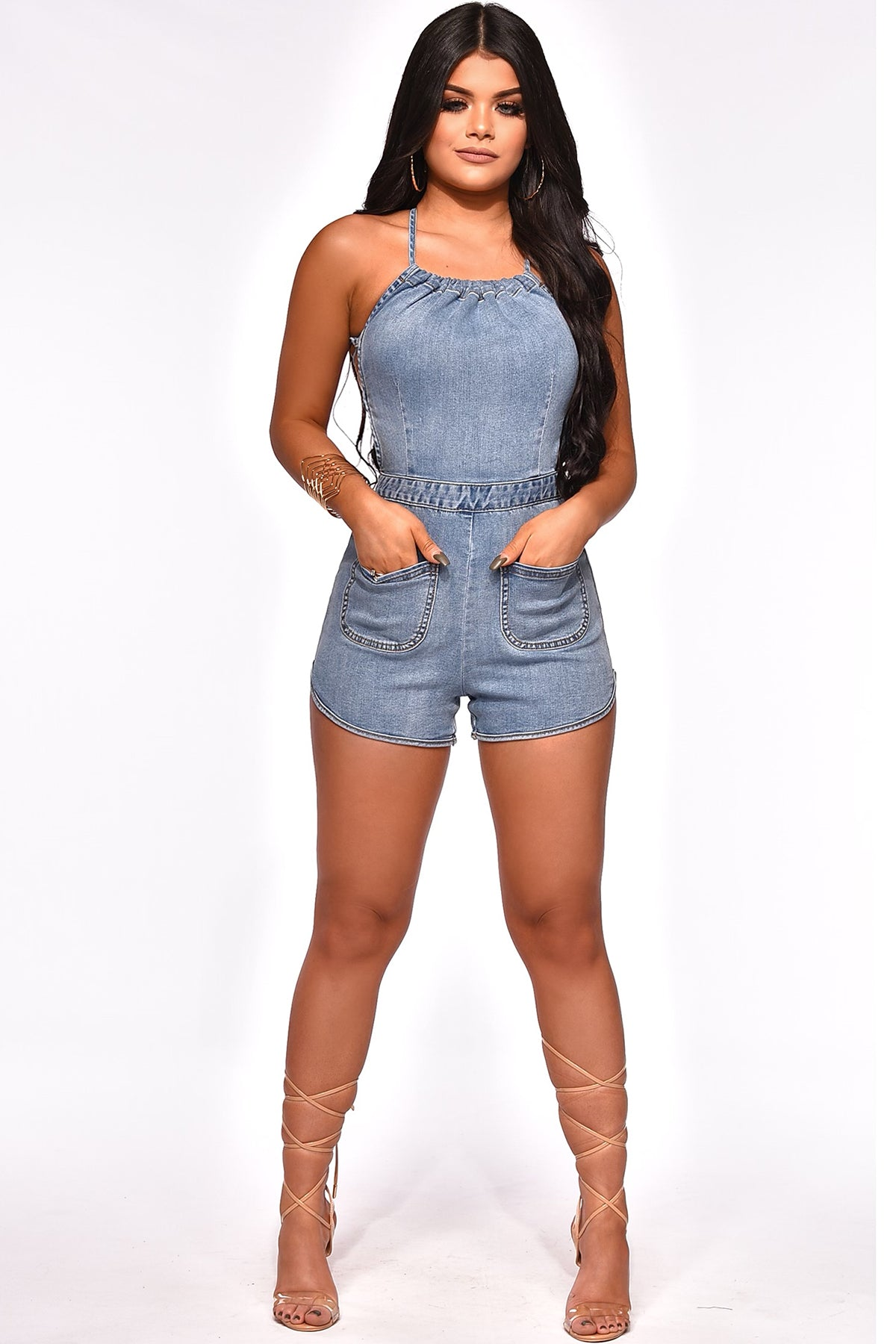 CAN I DREAM DENIM ROMPER