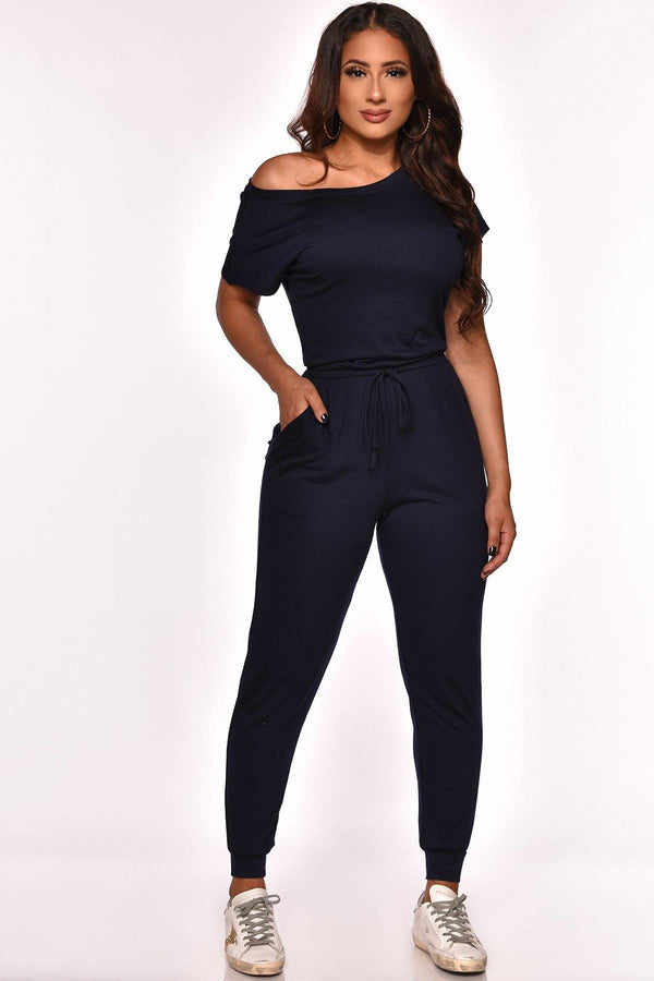 KEEPING IT LOW KEY JUMPSUIT NAVY