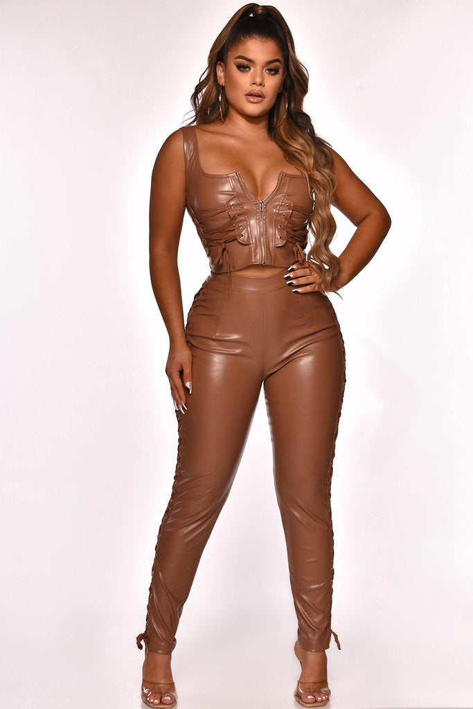TELL ME NO LIES FAUX LEATHER PANT SET