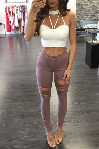 DUSTY ROSE HIGHWAIST PANTS