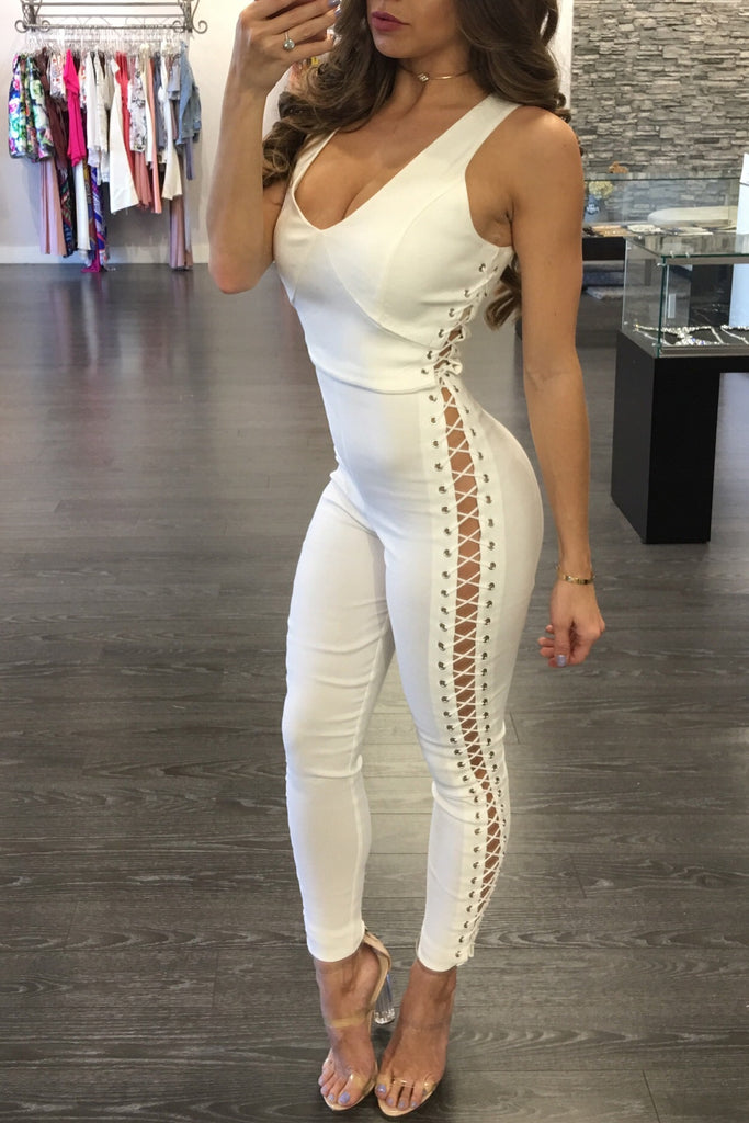 FRANCINE LACE UP JUMPSUIT