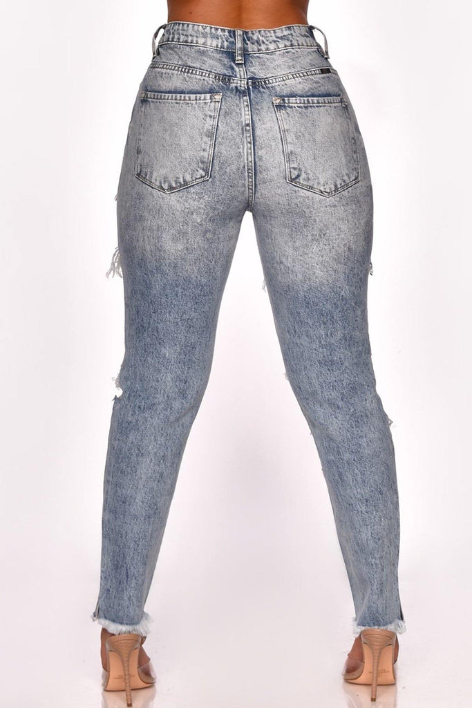 ACID WASH HIGH WAIST DENIM