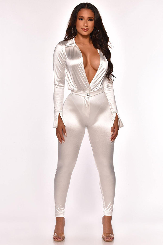 SATIN THE MOOD PANT SET  WHITE