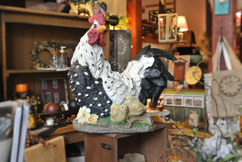 Large Painted Rooster and Chicks