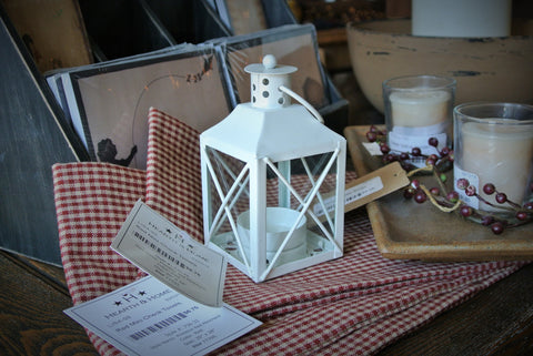Small White Metal Tealight or Votive Lantern