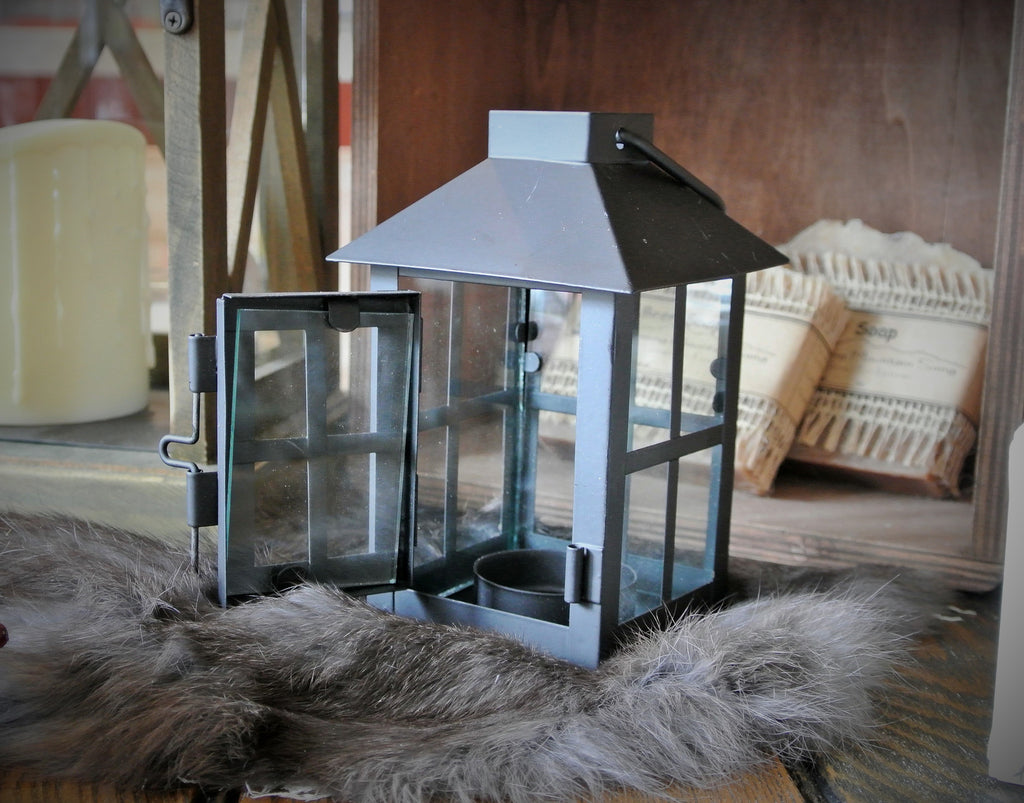 Black Metal Tealight or Votive Lantern