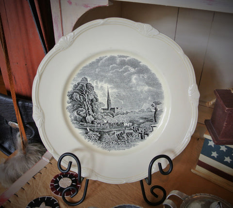 "40's Grindley England Creamware Dinner Plate ""Scenes After Constable"" Series"