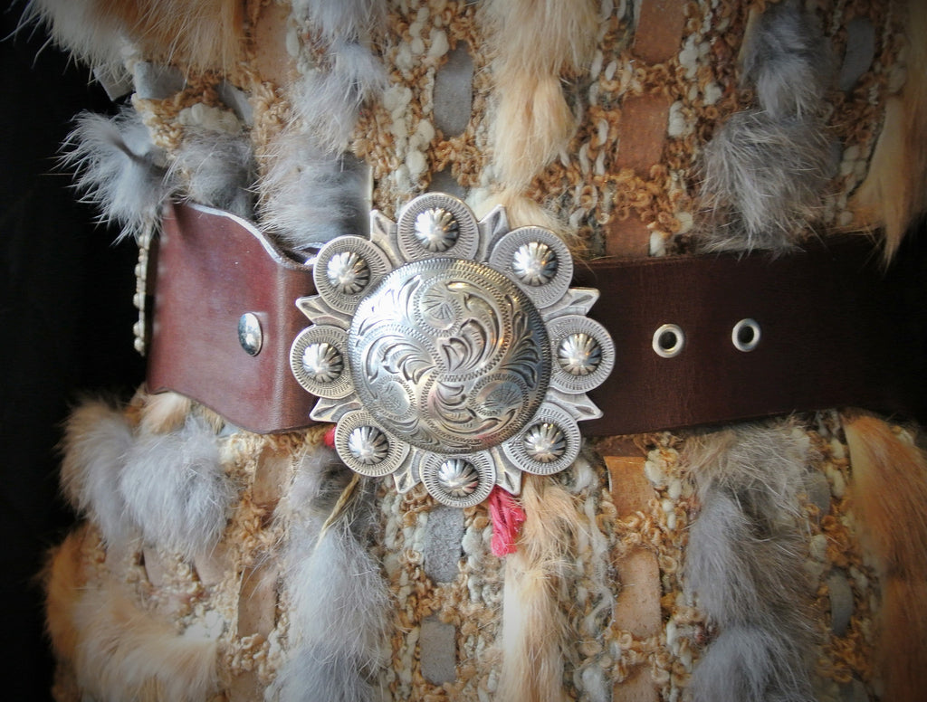 Custom Leather Wyoming Cowboys Concha Belt