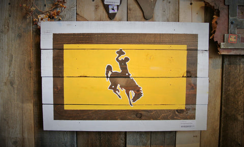 Small Wyoming Cowboys Bucking Horse and Rider Wooden Sign