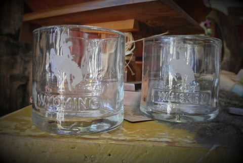 Wyoming Whiskey Steamboat Etched Bourbon Glass