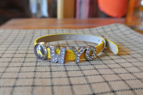 """WYO"" Faux Leather Bling Buckle Bracelet"