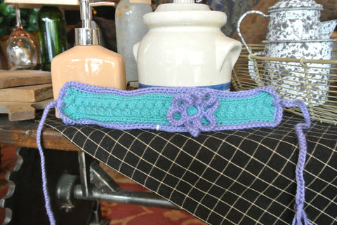 Purple/Teal Handmade Headband W/ Purple Flower LS