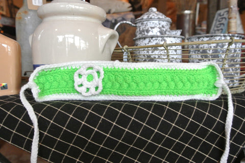White/Green Handmade Headband W/ White Flower LS