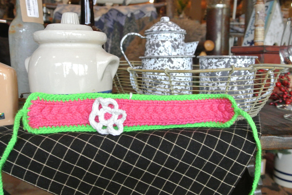 Pink/Green Handmade Headband W/ White Flower LS