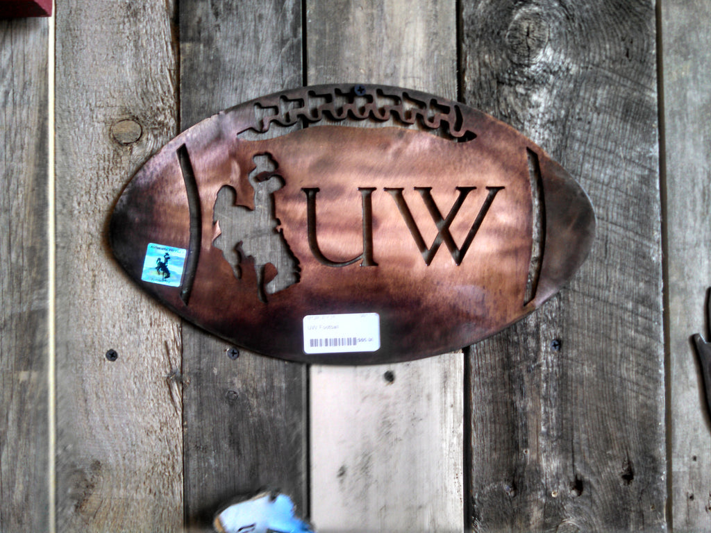 "Wyoming Cowboys ""UW"" Football-Plasma Cut Metal Sign"