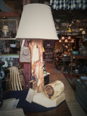 Cottonwood Lamp With Drawer and Burlap Shade