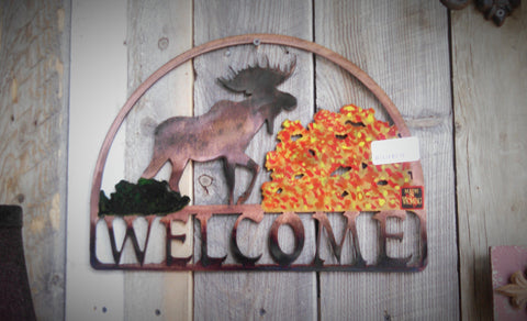 """Welcome"" Moose Plasma Cut Metal Sign"