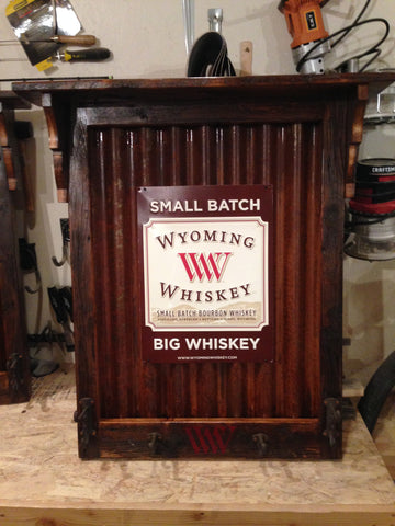 Rustic Wyoming Whiskey Barn Wood W/ Cast Iron Hooks for Hats or Coats
