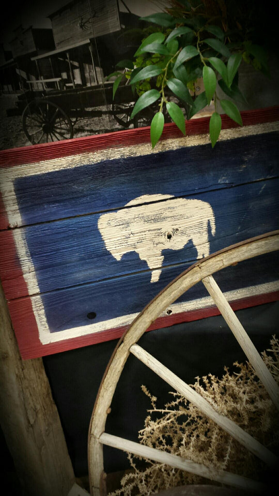 Wyoming Flag Rustic Wooden Wall Sign