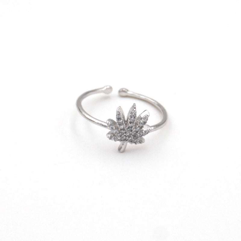 silver weed ring adustable
