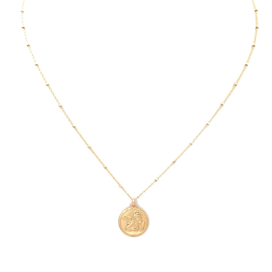 Full image of the Angel Baby coin necklace
