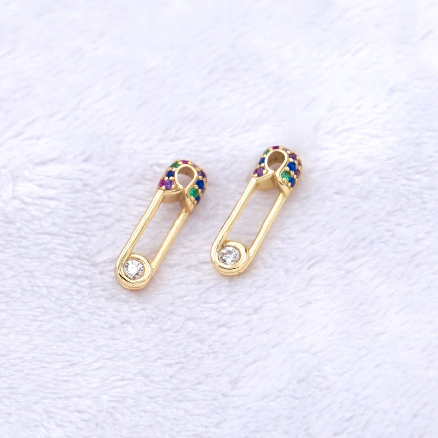 Rainbow Safety Pin Stud Earrings