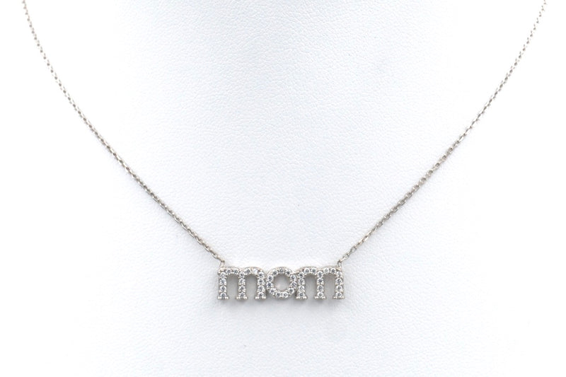 mom necklace cz sterling silver pave