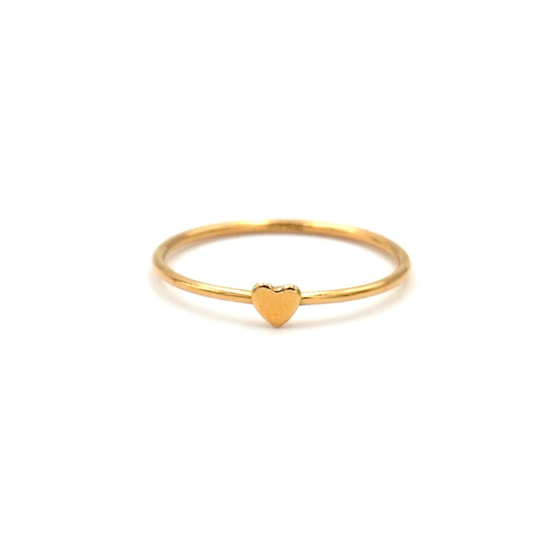 gold filled heart stacking ring thin