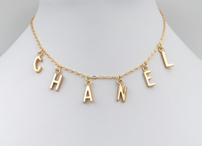 Name or Initial Necklace, Custom, Gold