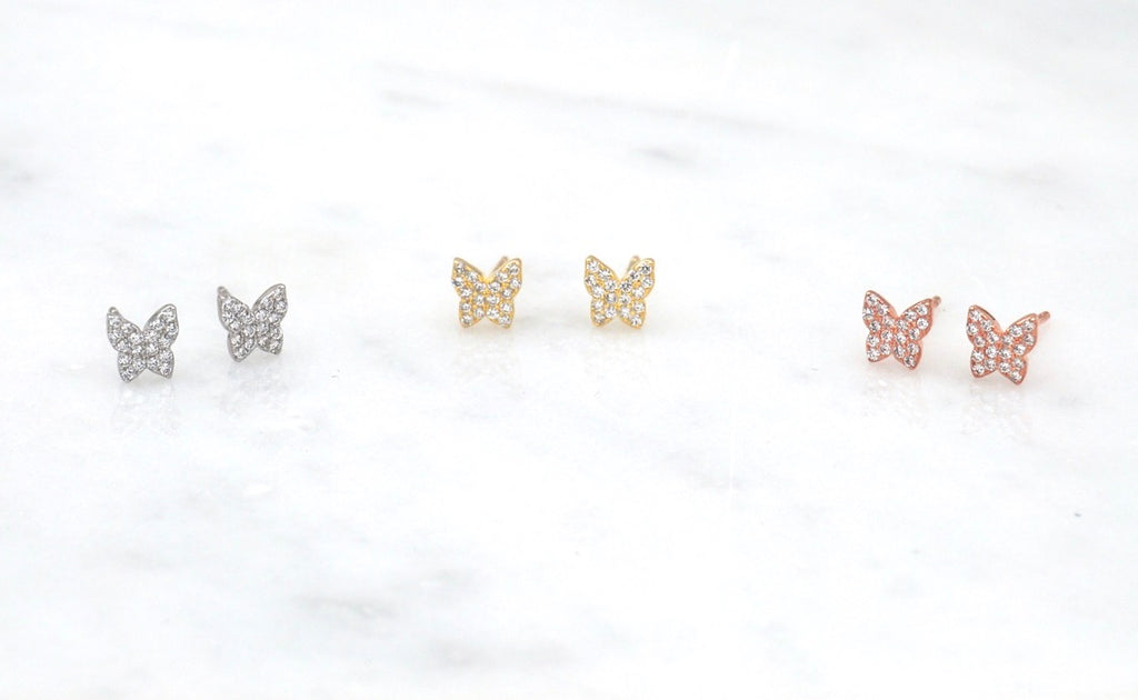 Butterfly Pave Stud Earrings