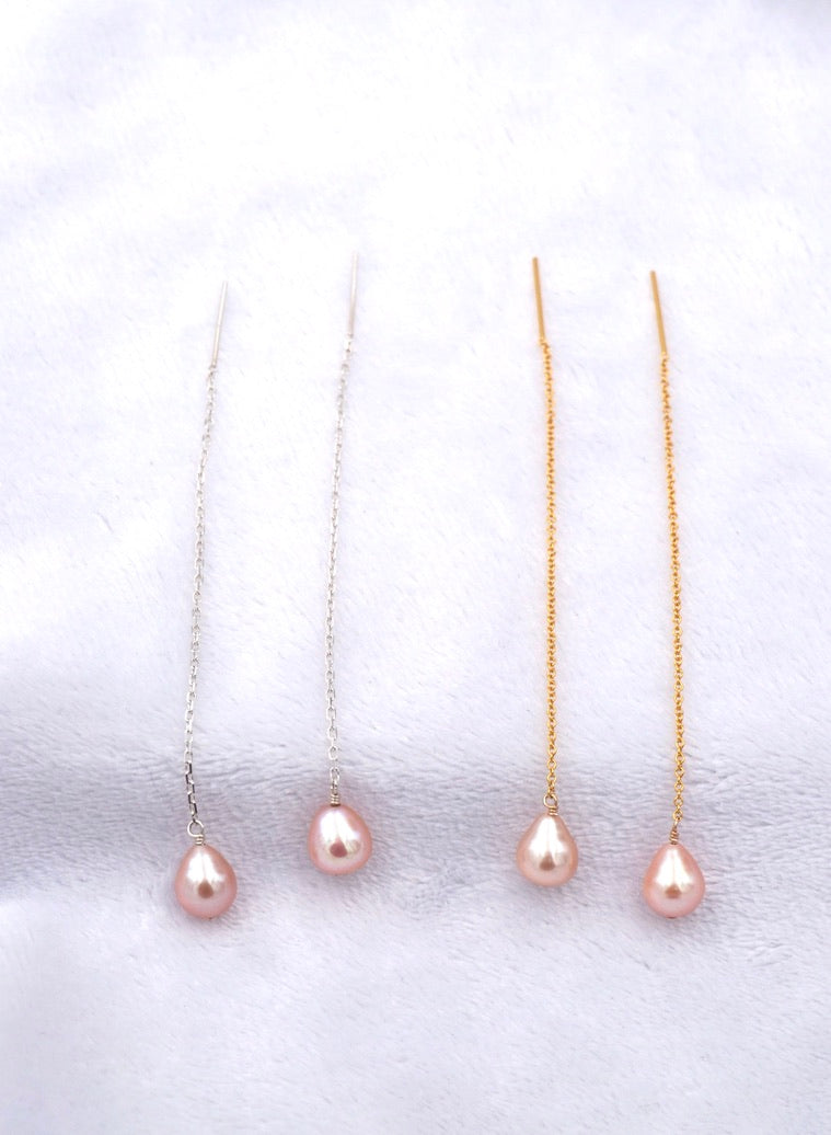 Blush Pink Tone Pearl Threader Earrings, Medium Size