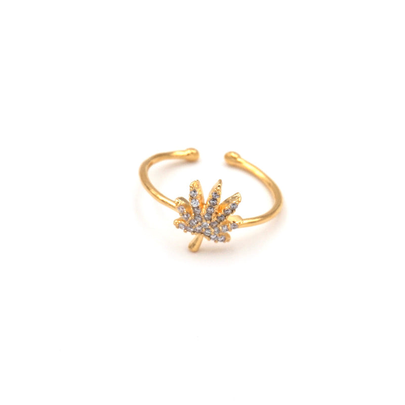 gold weed ring adjustable
