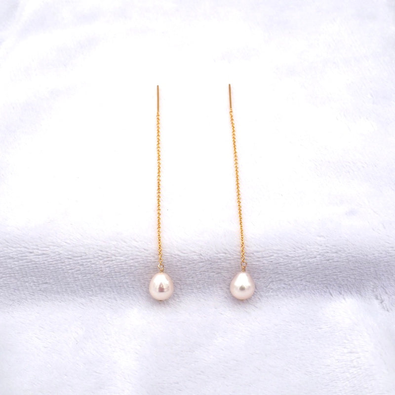 White Pearl Threader Earrings, Medium Size