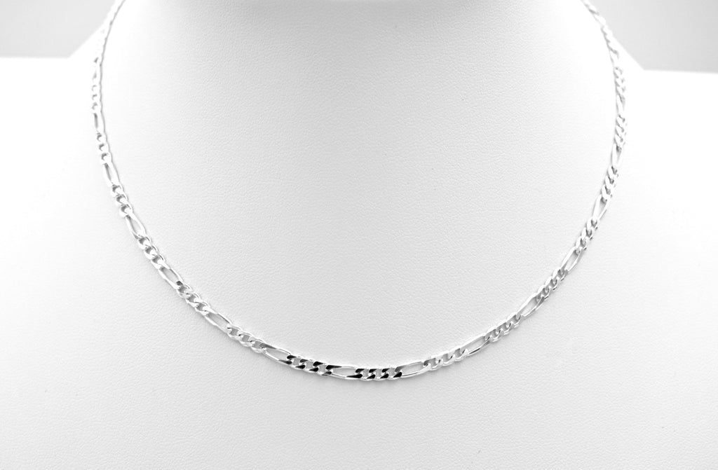 Figaro Chain Necklace, Sterling Silver