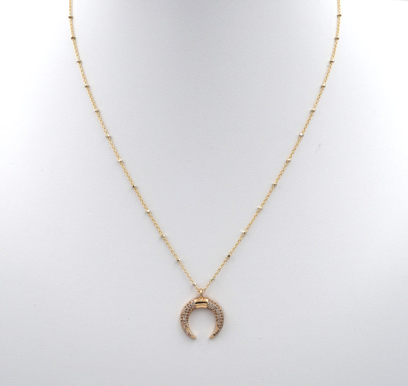 Moon Horn Bling Necklace