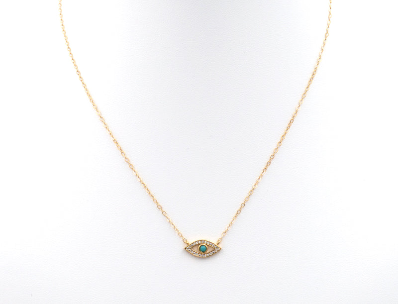 Turquoise CZ Gold Filled Evil Eye Necklace