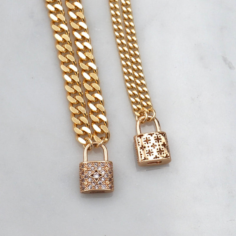 Got It On Lock Golden Bling Bracelet , Slim Thicc Mini Chain