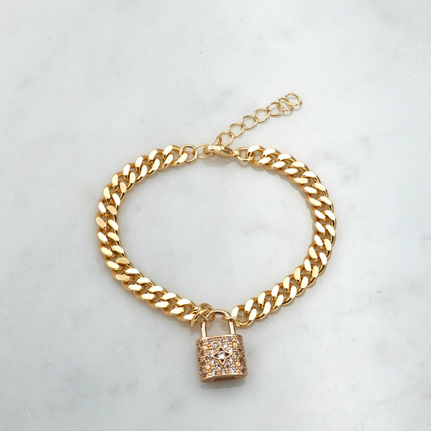 Got It On Lock Golden Bling Bracelet, Slim Thicc Chain